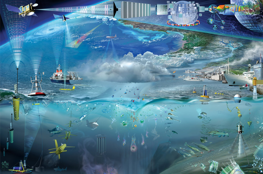 Photo Credit: Intergovernmental Oceanographic Commission - Global Ocean Observing System (IOC-GOOS) Artwork by Glynn Gorick depicting the Ocean Observing System