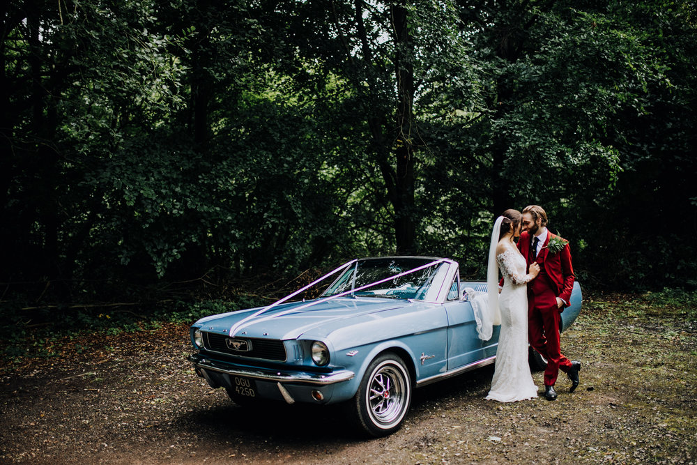 A forest wedding in Cheshire with a Ford Mustang