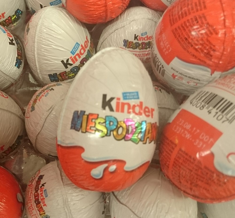 "Kinder Surprise eggs (The word ""Niespondzianka"" is the Polish word for ""surprise"". They cost 2.99 zl each or about 75 cents (USD) at today's exchange rate."