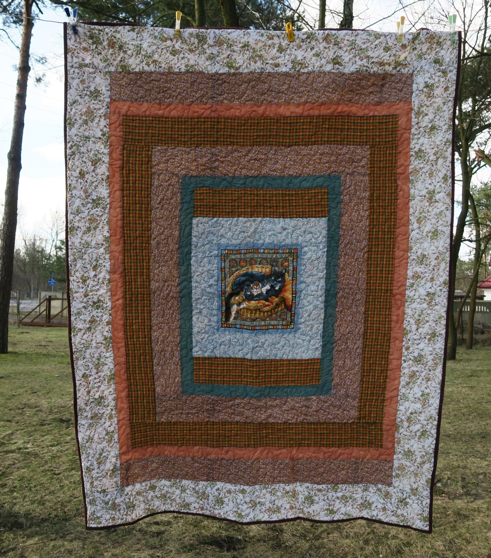 08 A pillow panel I made into a quilt.