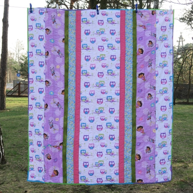 38 Owl quilt with up and down stripes for a change!
