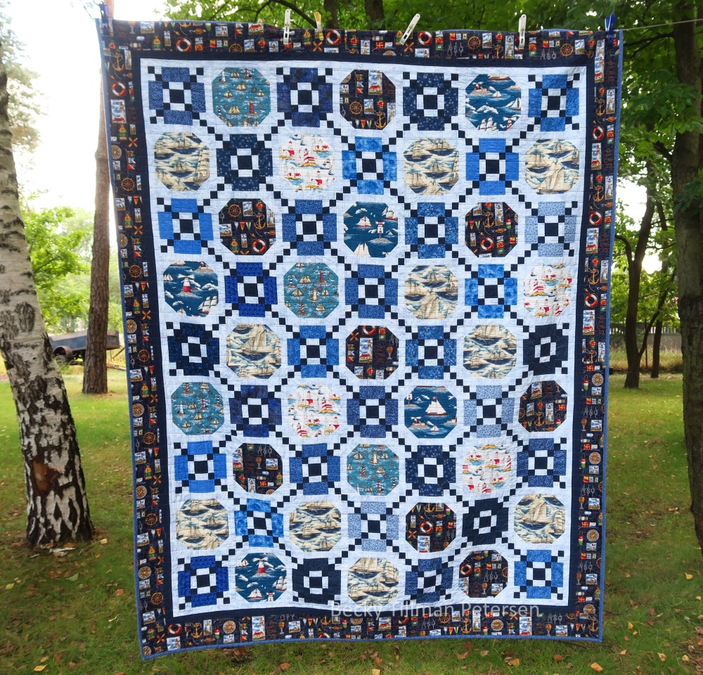 58 Chain lined sailboats - a special quilt made for a coworker of my husband's in the Ukraine