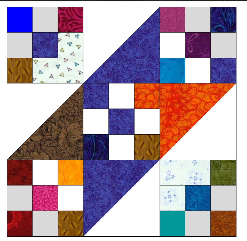 "This is the main block used in ""Test Pattern #49"". I left the second half of the HST as white and made the corners of the 9 patch a tad bit darker. I also put light gray in two of the 9 patches in the center."