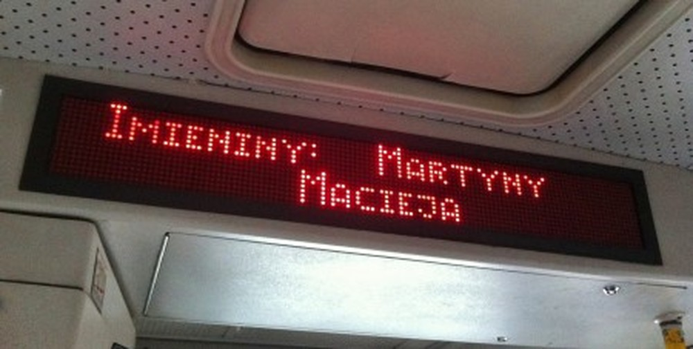 """This says """"Name days"""" today are Marta and Maciej."""