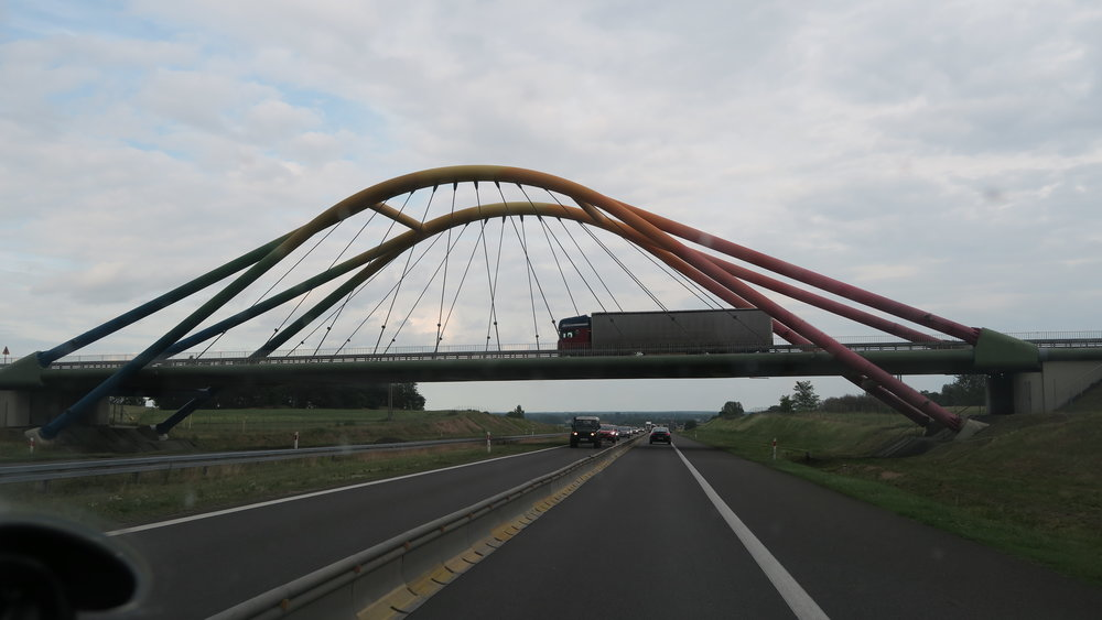 This bridge is rainbow colored. It is quite pretty.