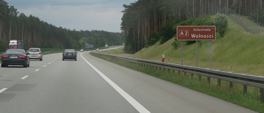 "They named this freeway - Wolnosci - or freedom. It also has another name ""A2""."