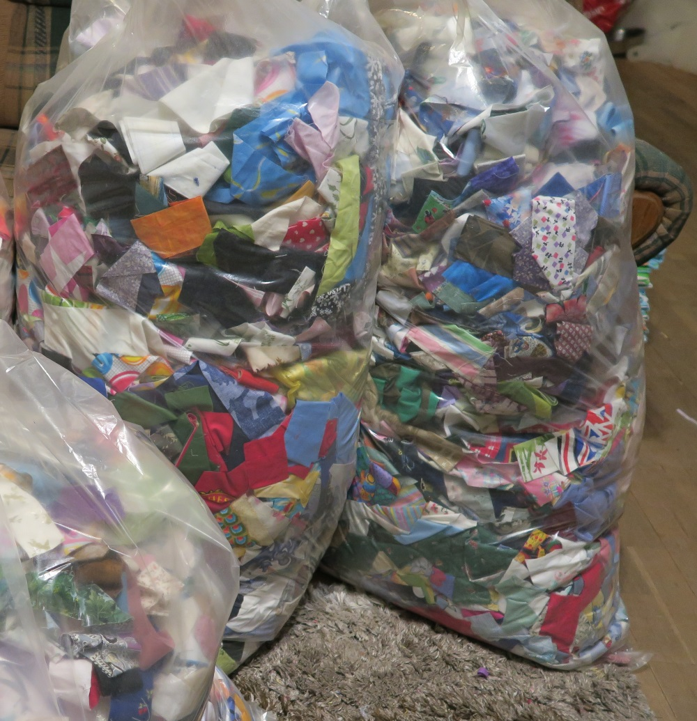 bags of fabric strips