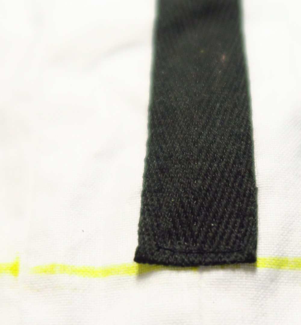 Close up of the black stitching on the black ribbon.