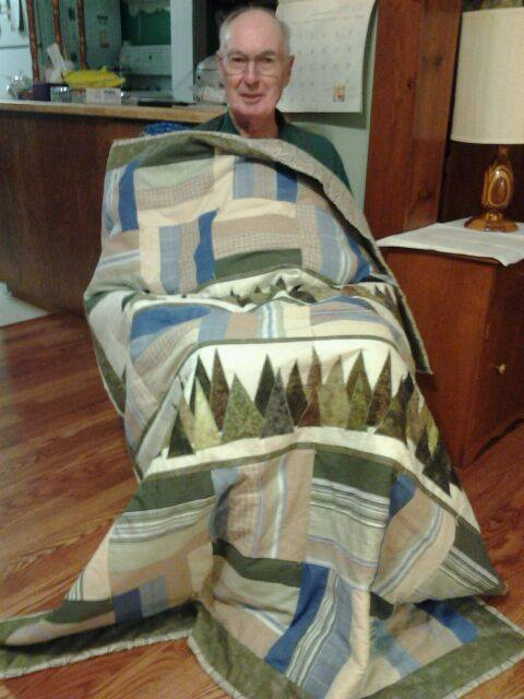 Louise Young made this handsome quilt for her dad! Lucky man!
