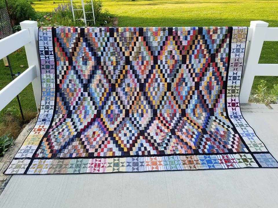 Jo Kramer made this heart-stopping beautiful quilt out of a stripes and plaids