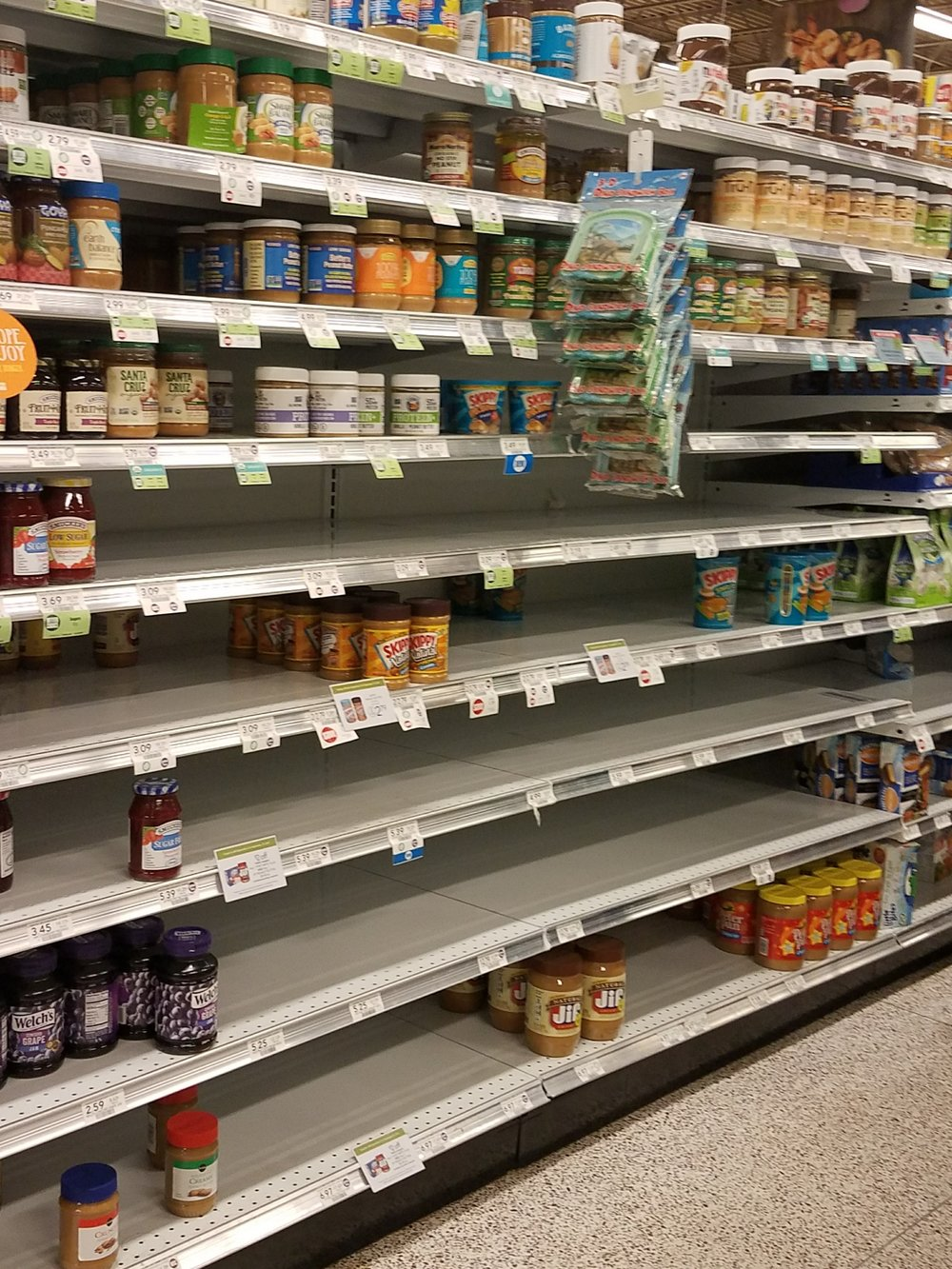 Peanut butter is a staple, evidently, for hurricanes.