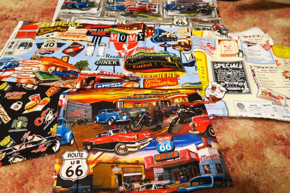 Route 66 and Diner fabrics I found in Arizona