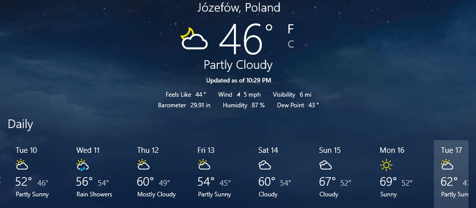 Our forecast for the next week.  I'm absolutely NOT complaining!  Look at those upper 60's days coming up.  This is one way I've changed since coming to Poland. I used to heartily dislike these days.