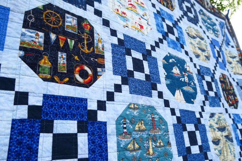 Close up of the nautical themed quilt