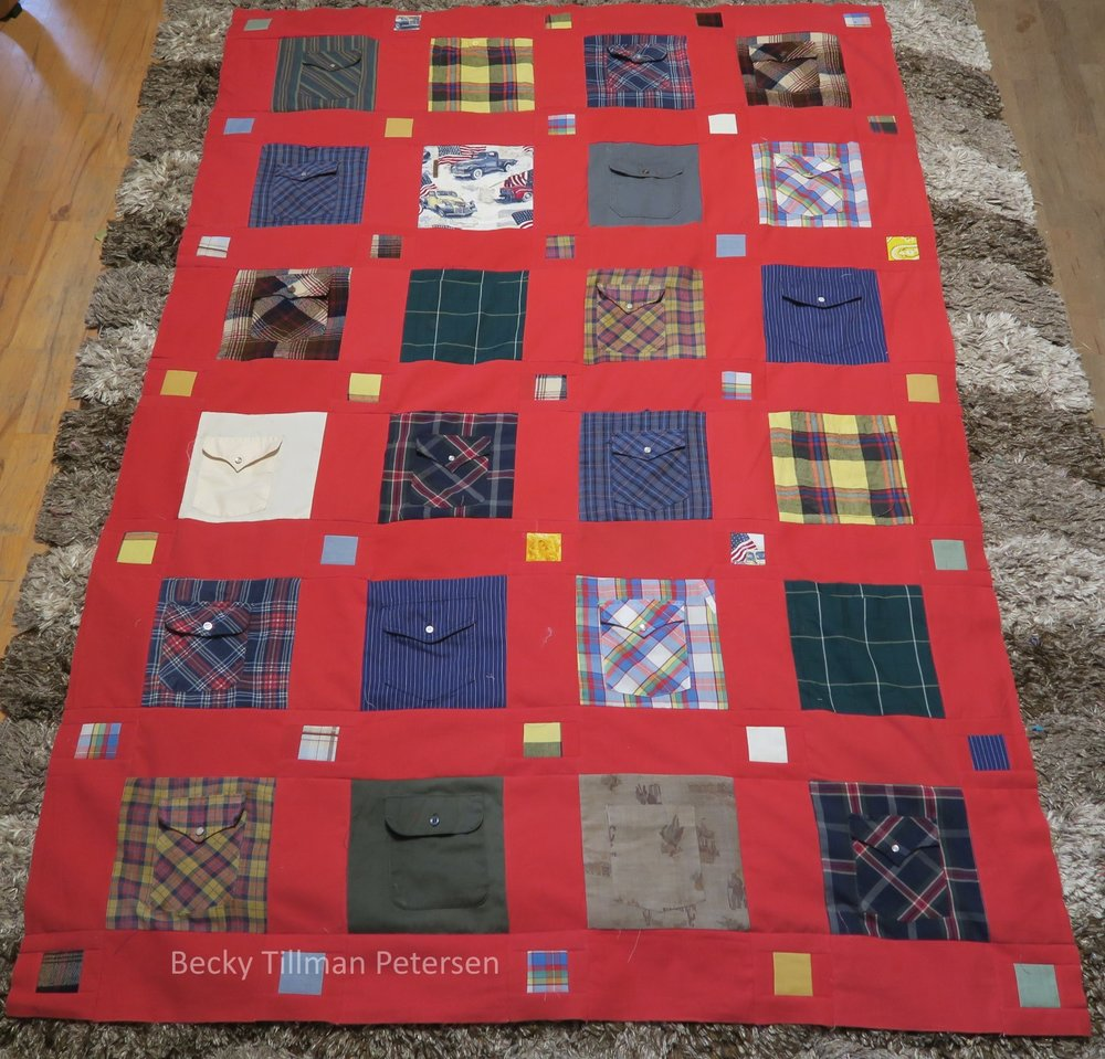 Pockets used on a memory quilt top