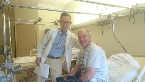Mike's orthopedic surgeon, Dr. Mike Deszczynski, with my husband after his surgery in August.  Dr. Deszczynski is working with a bone specialist in Palm Beach, FL right now