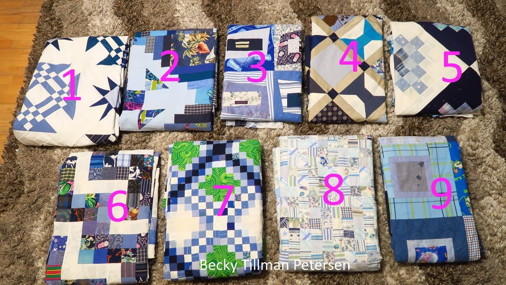 To date, I've shwon you these - 1 . Starring Monkey Wrenches, 2. Periscope, 3. Premium Labels, 4. Peek-A-Boo., 5. Granny's Checkerboards, 6. Scrappy Rail Fence, 7. Triple Irish Delight, 8. Made Ya Look - at Blues, and 9. Frisky Boxes.