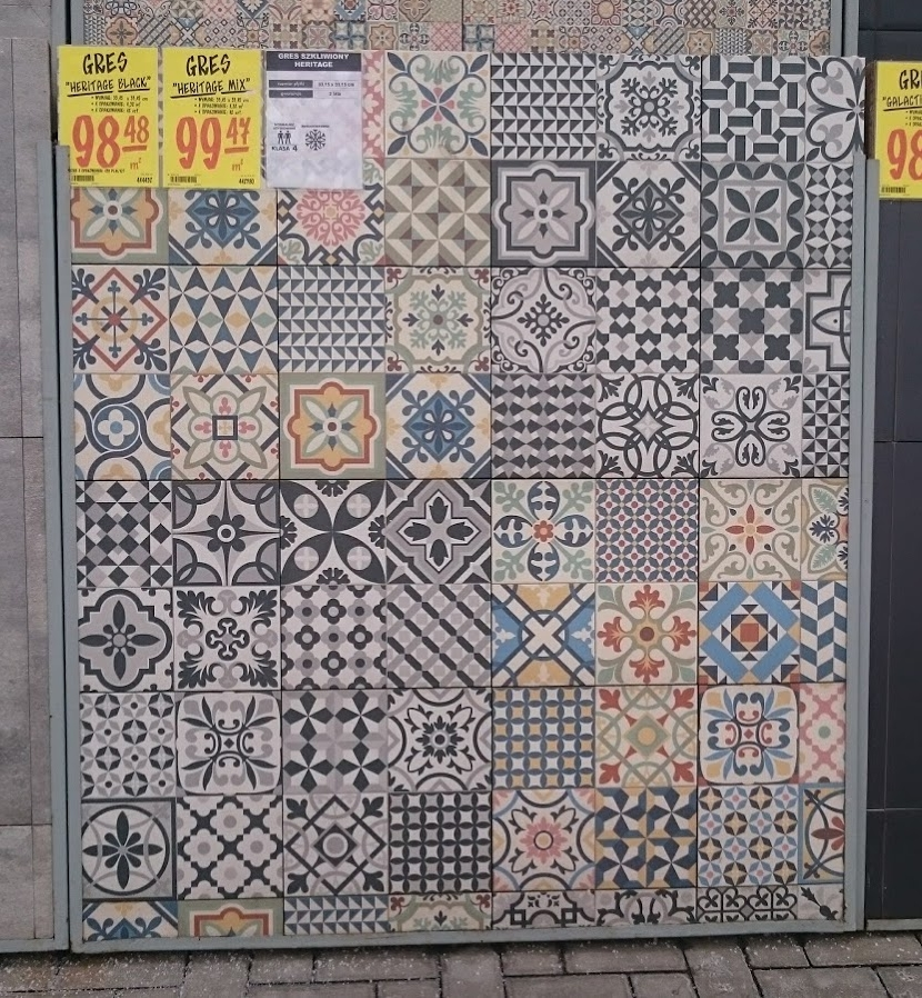 The colorful ones are $29.84 USD per square meter. The black and white ones are $29.55 per square meter.