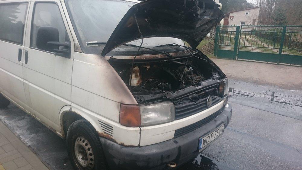 The burned van. This happened in December.