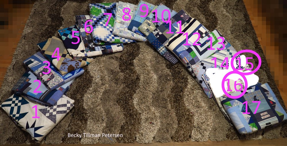 From left - 1. Starring Monkey Wrenches, 2. Periscope, .3. Premium Labels, 4. Peek A Boo, 5. Granny's Checkerboard, 6. Scrappy Rail Fence, 7. Triple Irish Delight, 8. Made Ya Look - at Blues, 9. .Frisky Boxes, 10. Double Star Beauty, 11. Starry Night, 12. All Crumbled Up, 13. Tag Along, 13. Simple Chains, 15. TBA, 16. Under construction on the weekends, 17. The Kitchen Sink
