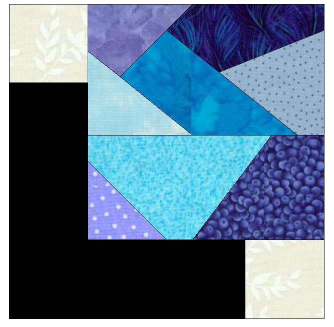 """This is what the block looks like up close. The blue crumbs are cut at 5"""" square and will finish at 4.5"""". I'm using 2"""" strips of black and 2"""" off white squares for the corners. The final block finishes at 6.5"""" before sewing into the top - it finishes in the quilt at 6""""."""