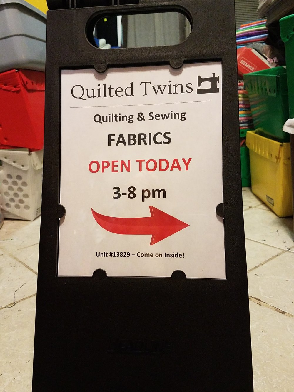 Quilted Twins Fabric Warehouse Sign