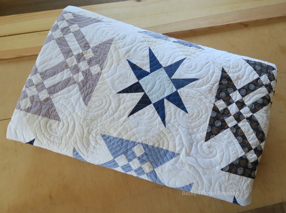 Starring Monkey Wrenches Quilt Folded Up
