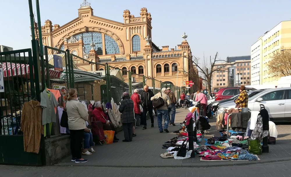 Curb-side market in Poland