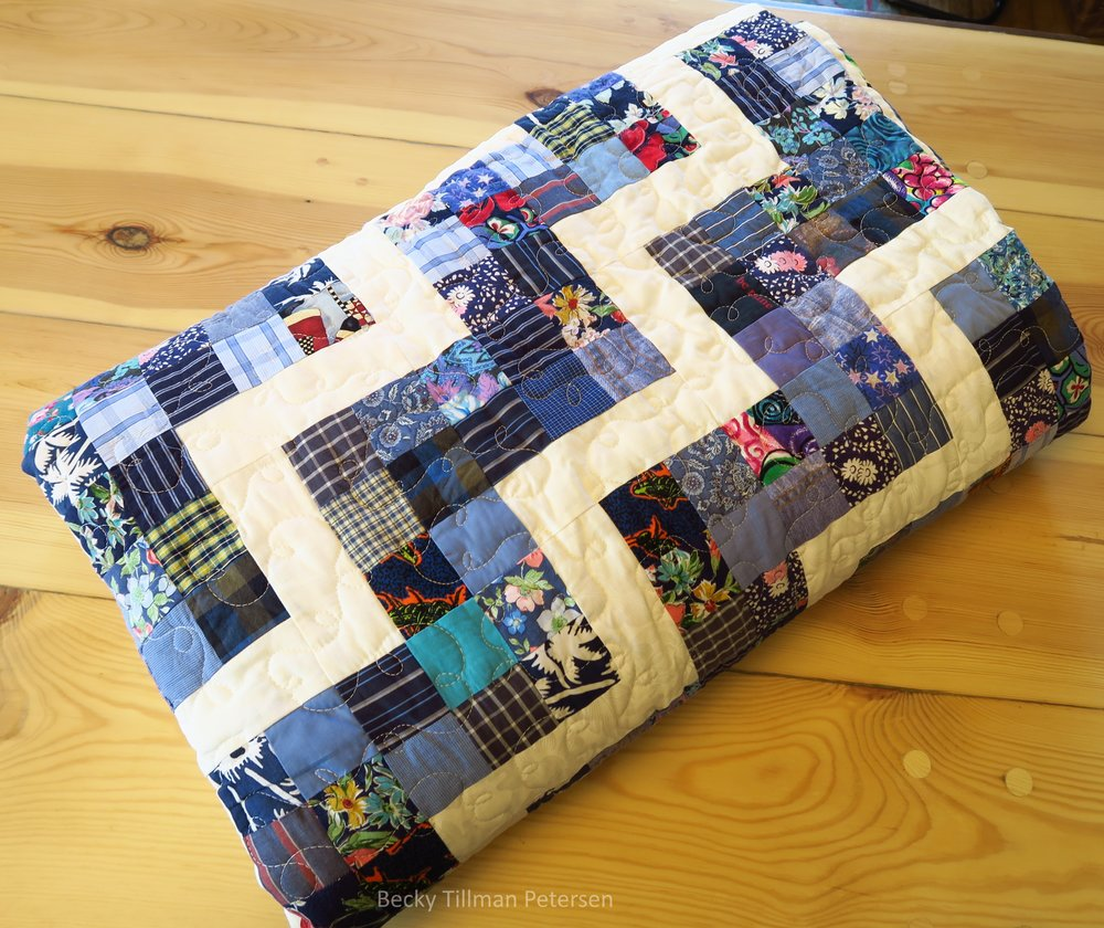 Scrappy Rail Fence Quilt Roll