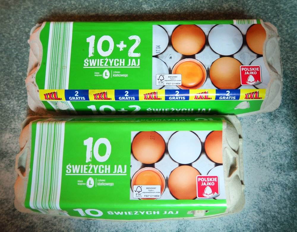 "The price? Eggs seem to fluctuate widely, but a week or so ago that 10 pack of eggs was 6,99 zl or $2.03.  These are given the title of ""fresh eggs"".  I have to laugh that they use the ""L"" for large eggs (""Large"" in Polish is not ""large"" - it would be ""Duze"" - or ""D"").   One time in the store I heard one lady translating to another what ""S"", ""M"" and ""L"" meant when discussing clothing.  In Polish ""S"" or small is ""maly"" (that would be an M), and ""M"" or medium would be ""sredni"" or ""S"" and ""L"" or large would be ""duzy"" or ""D"").  Not sure why they use the American lettering when none of the rest of the words are in English. Just one of those cultural things you might not think about."