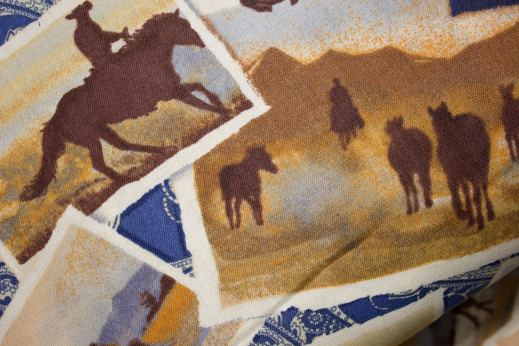 f1c465cb17cbfa Cowboy Snapshots on Blue Bandana: Ranch Hands for Windham Fabrics