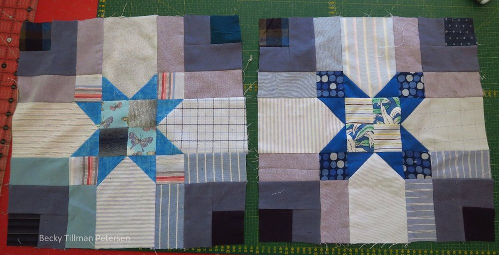 "The two constants in this one were the dark grayish blue that I used as the ""middle round"" and the royal blue sashing. For the rest I used a very, very light blue - almost white as the background forming the sort of arrow/star points  and then various blues for the ""outer round"" of the quarter log cabin. The center blocks and star points were all quite varied."