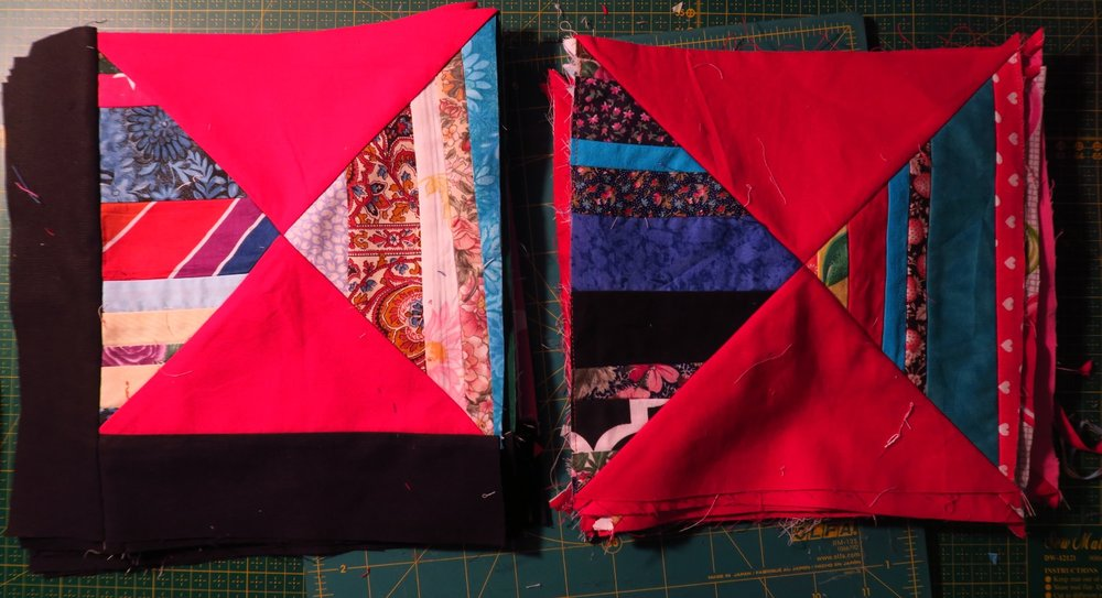 """The block finishes at 10.5"""" before I sew them together. The right side are the main part of the block before they are trimmed to 9.5""""."""
