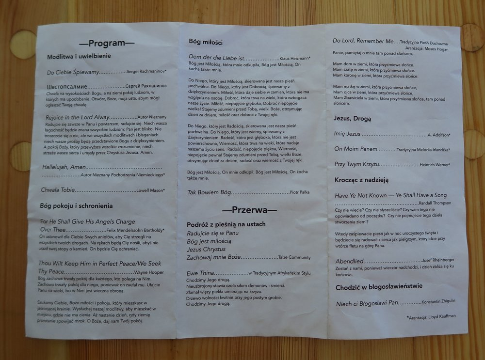 I know the vast majority of you can't read this, but they translated all the songs that were not tin Polish into Polish for the audience.