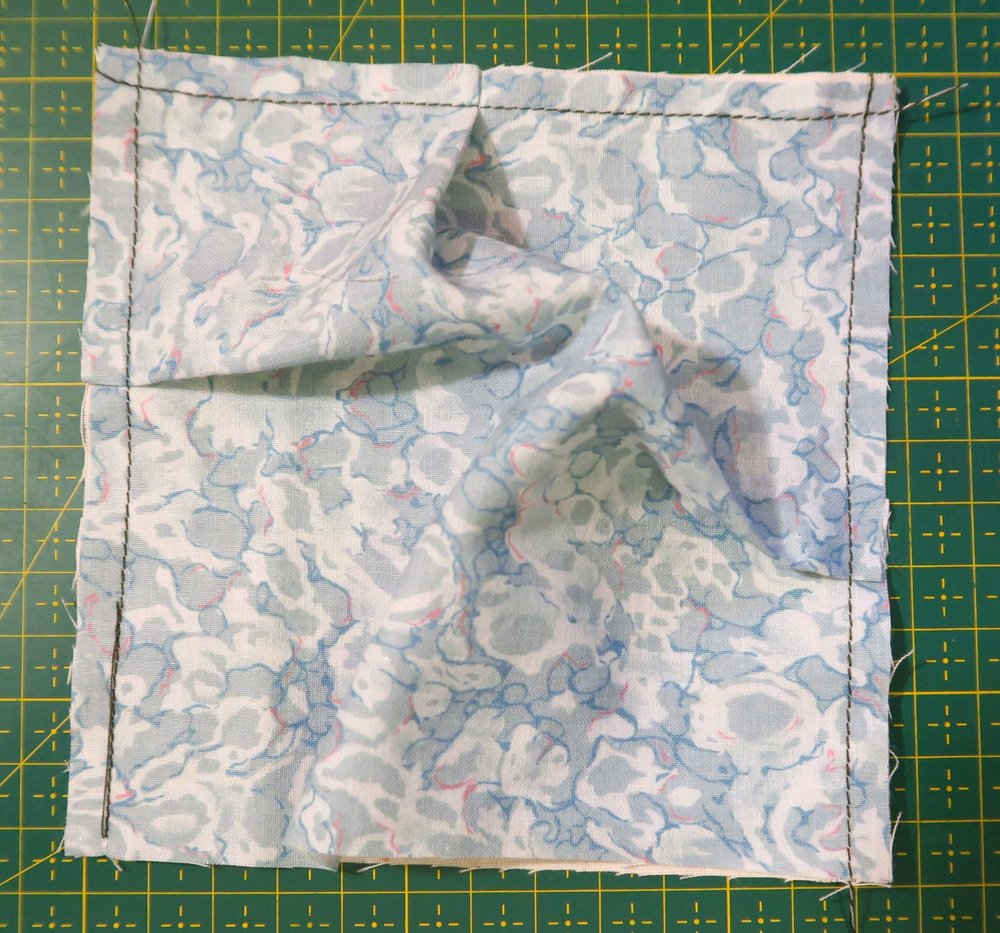 """Sew the seam at 1/4"""" or less. You now have 3 sides finished."""