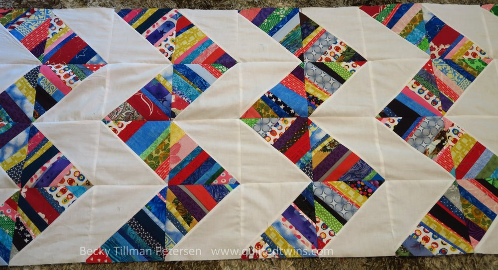 These scraps are primarily from the latest quilts I've done - so the Wedding Quilt, the three for the girls in Central Asia, and the backing for a couple you haven't seen yet.