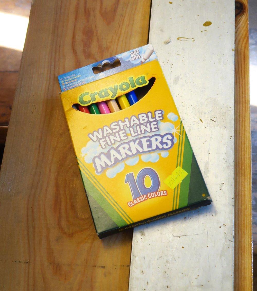 I use the Crayola washable markers.