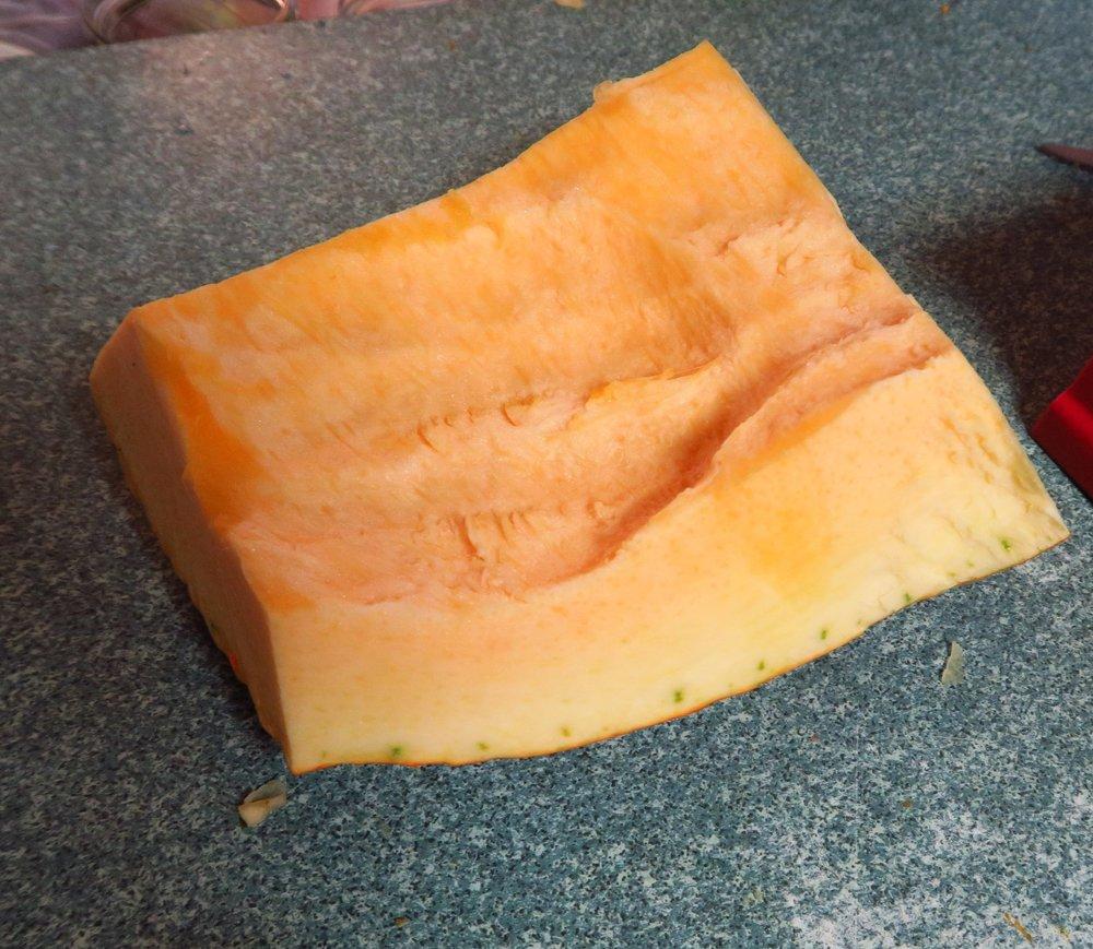 2. Cut the pumpkin into smallish chunks.