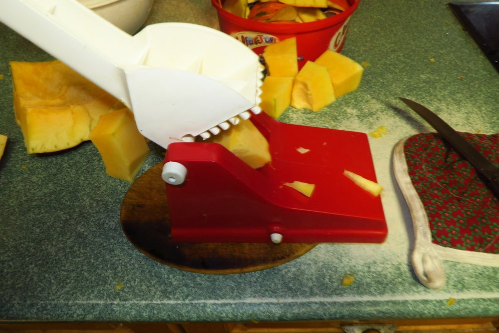 5. Put the smallish chunks through  my french fry maker