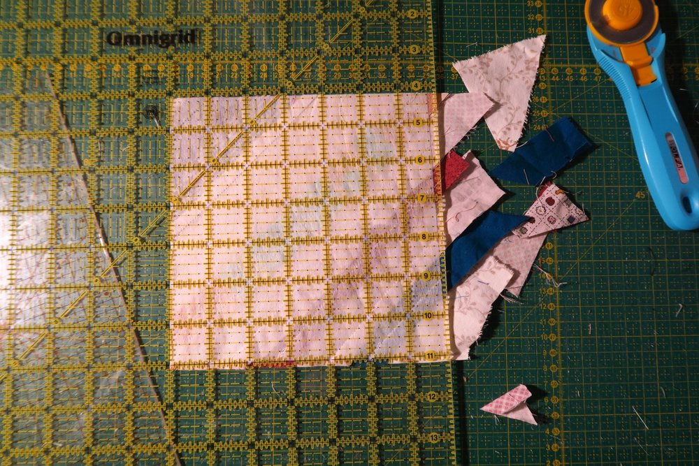 Trim again to make a square.