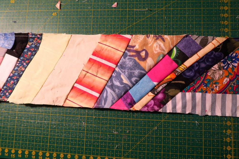 I like to see variation in angles in my paper tape of scraps.