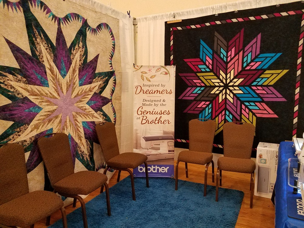 "We were greeted with this magnificent display of color"" upon entering the quilt show."