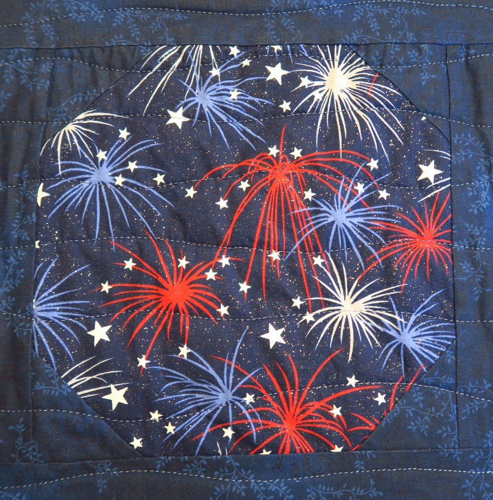 Patriotic Fireworks with glitter