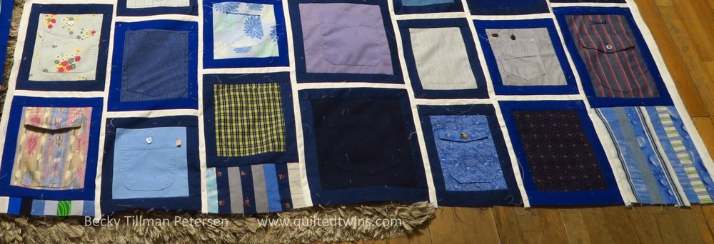 I cropped the picture to show you the strips I put at the end of the row of pocket blocks (vertical rows). I alternated adding to the top and bottom, usually.