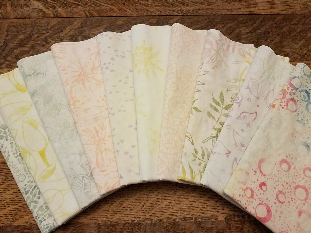 These are Anthology batiks and you will not be disappointed with these. Unlike many batiks which have lots of color, these are quite the opposite - very subtle!