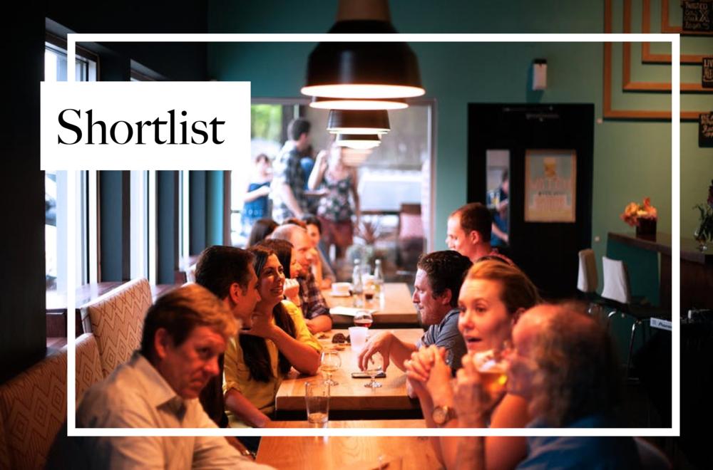 Business and Pleasure Shortlist restaurants
