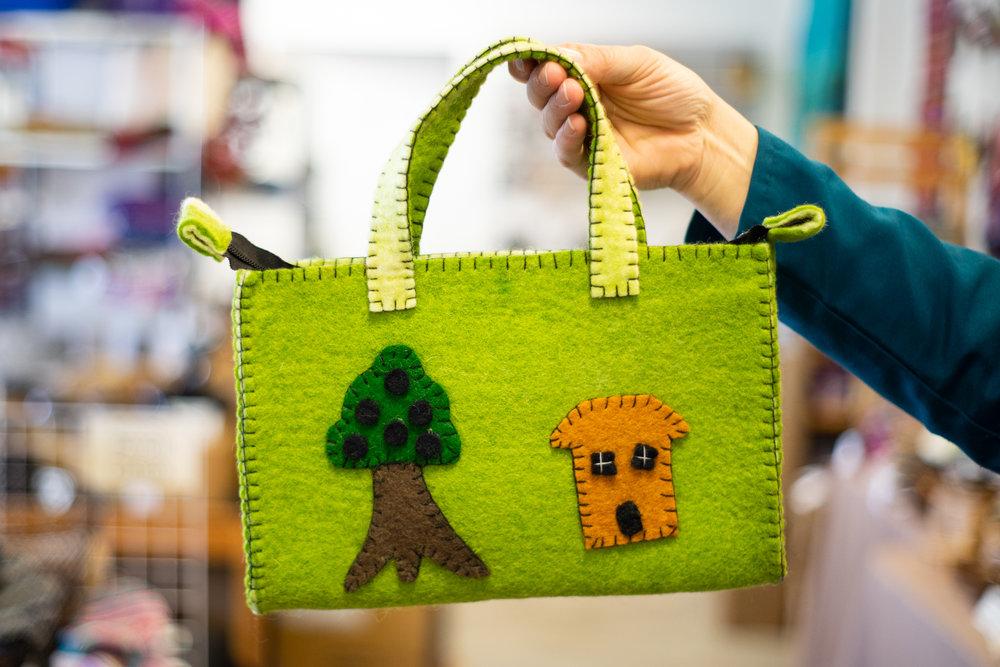 Felt bag with tree house applique u global village nanaimo
