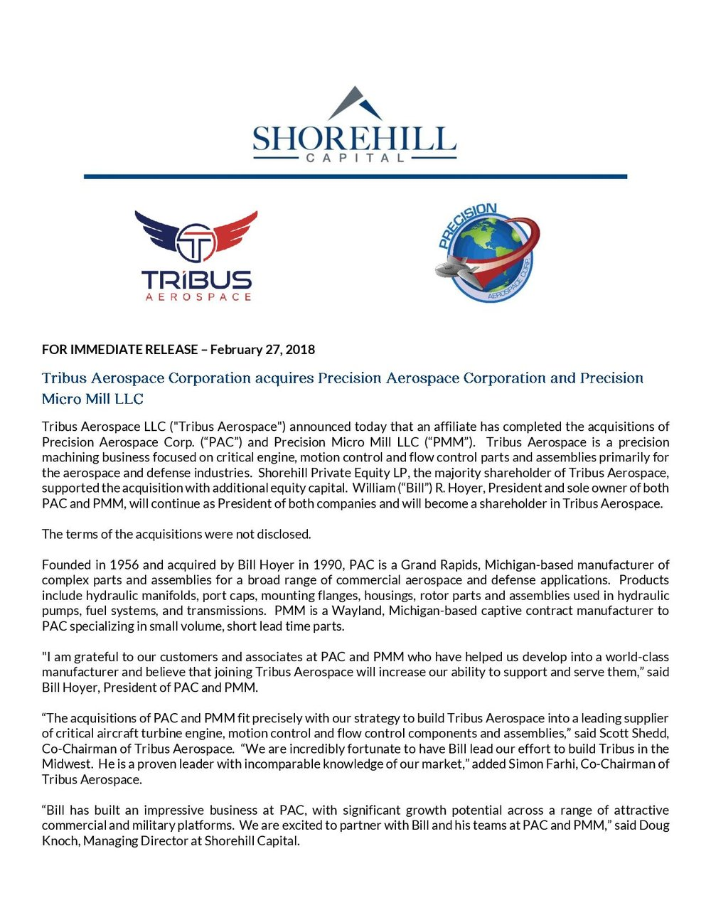 Press Release - Tribus Aerospace Acquires Precision Aerospace Corporation and Precision Micro Mill - vFINAL-page-001.jpg