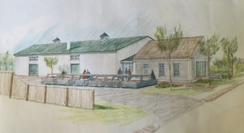 Architect Alan MacLeod's rendering of the Untold brewery building.