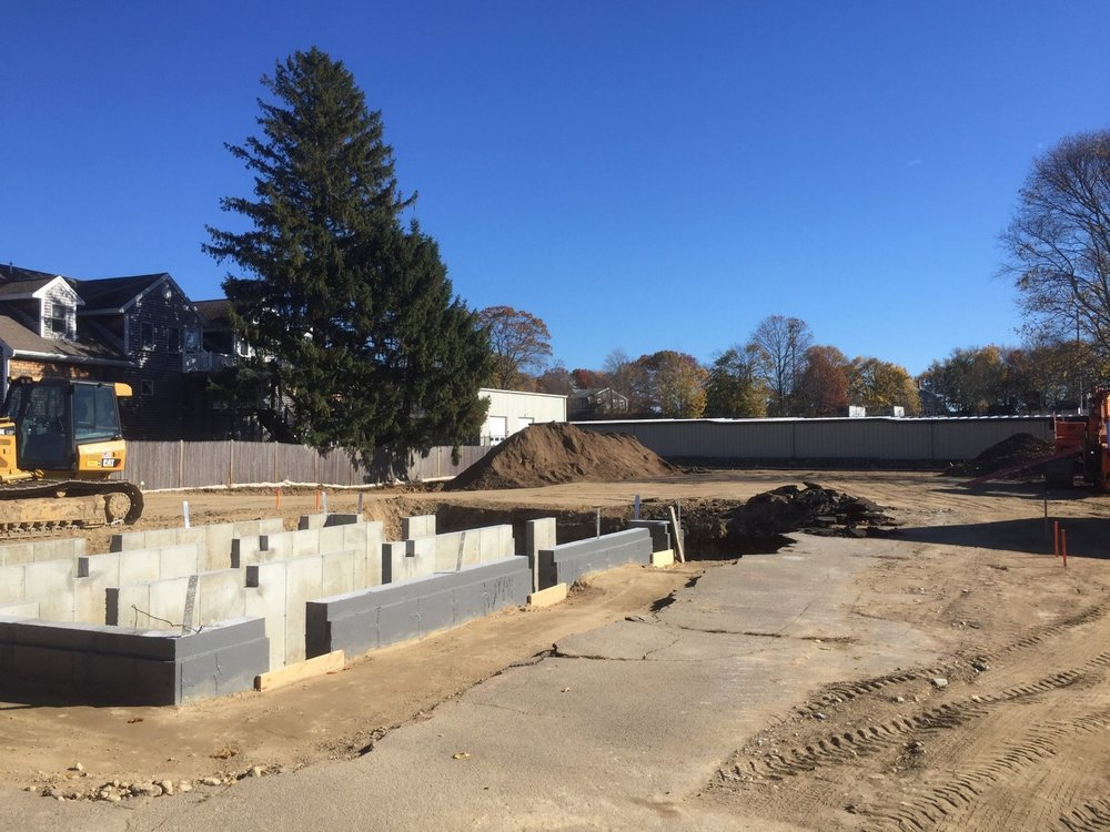 November 13, 2016: The original foundation is poured for our taproom (a.k.a. the South Main Street School which was originally built in 1852).